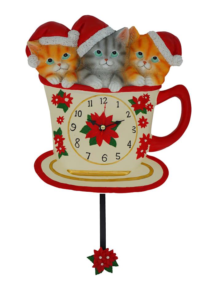 Väggklocka med julkatter, röd/flerfärgad