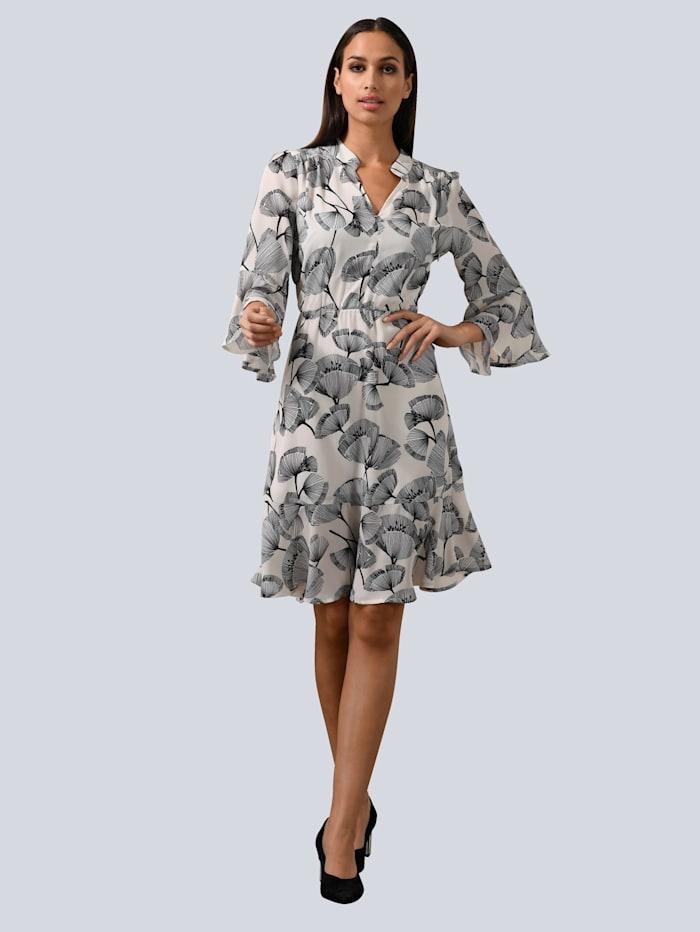 Alba Moda Kleid mit Volant am Ärmelsaum, Weiß/Schwarz