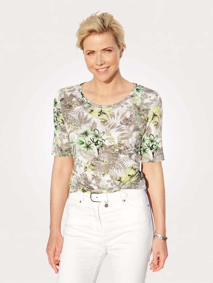 Rabe T-shirt à imprimé floral, Kaki/Vert clair