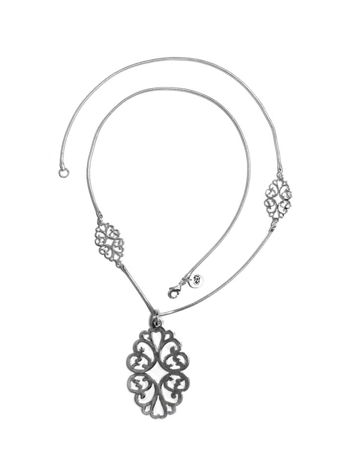 Collezione Alessandro Lange Kette Cara mit Ornamenten, silber
