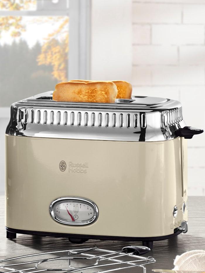 Russell Hobbs Kompakt Toaster mit Retro Contdown Anzeige, creme