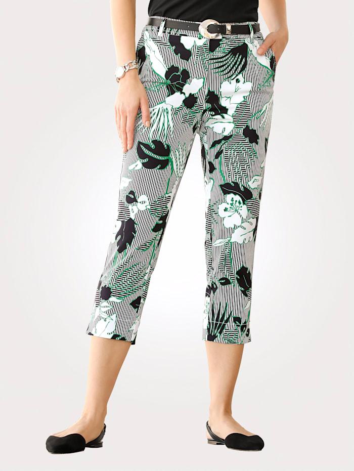 MONA Pantacourt à motif floral, Noir/Blanc/Vert