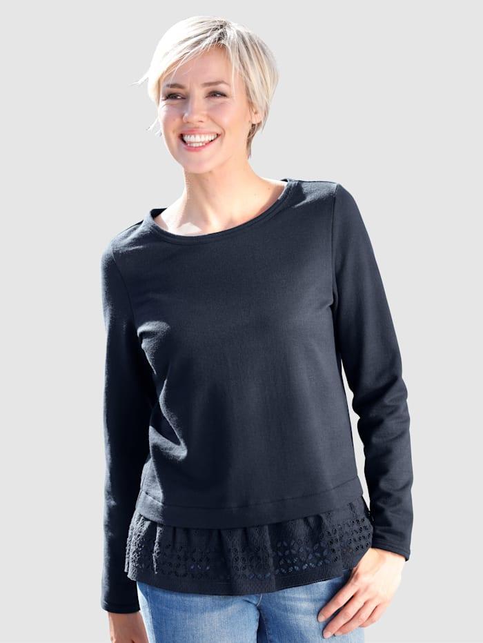 Dress In Sweatshirt mit Schiffliedetail, Marineblau