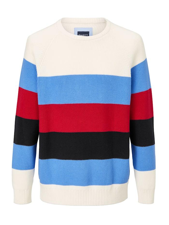 BABISTA Pull-over à motif côtelé, Blanc/Bleu/Rouge