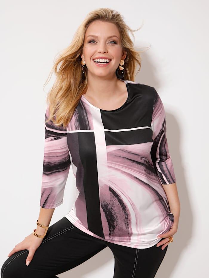 m. collection Shirt met grafisch dessin, Roze/Zwart/Ecru