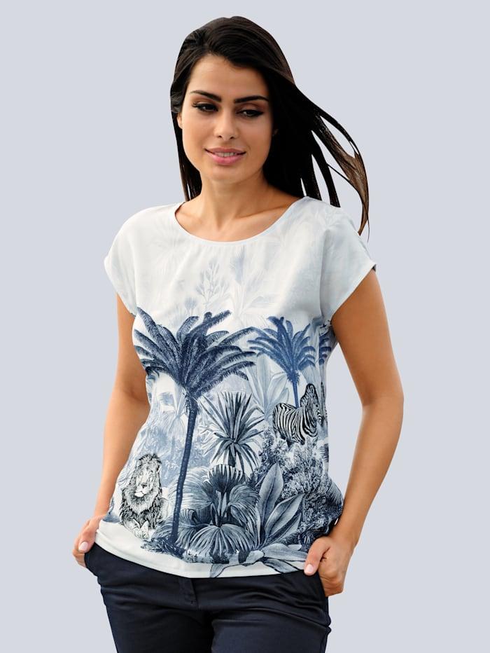 Alba Moda Strandbluse mit Palmendruck, Weiß