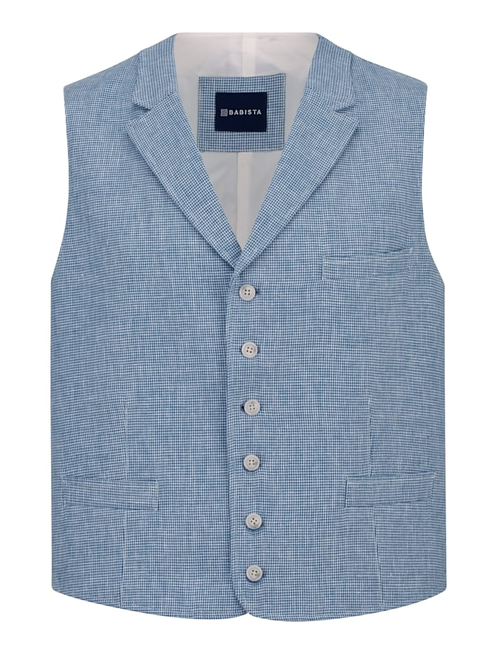 BABISTA Mouwloos vest met linnen, Blauw
