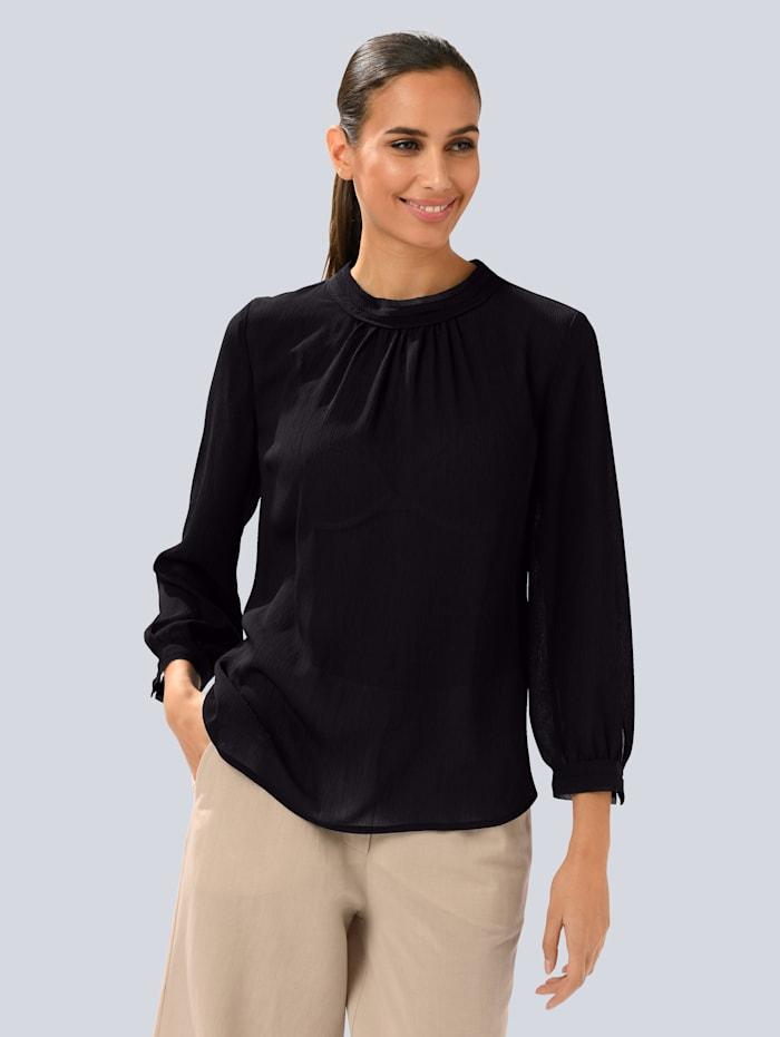 Alba Moda Bluse aus transparenter Ware, Schwarz