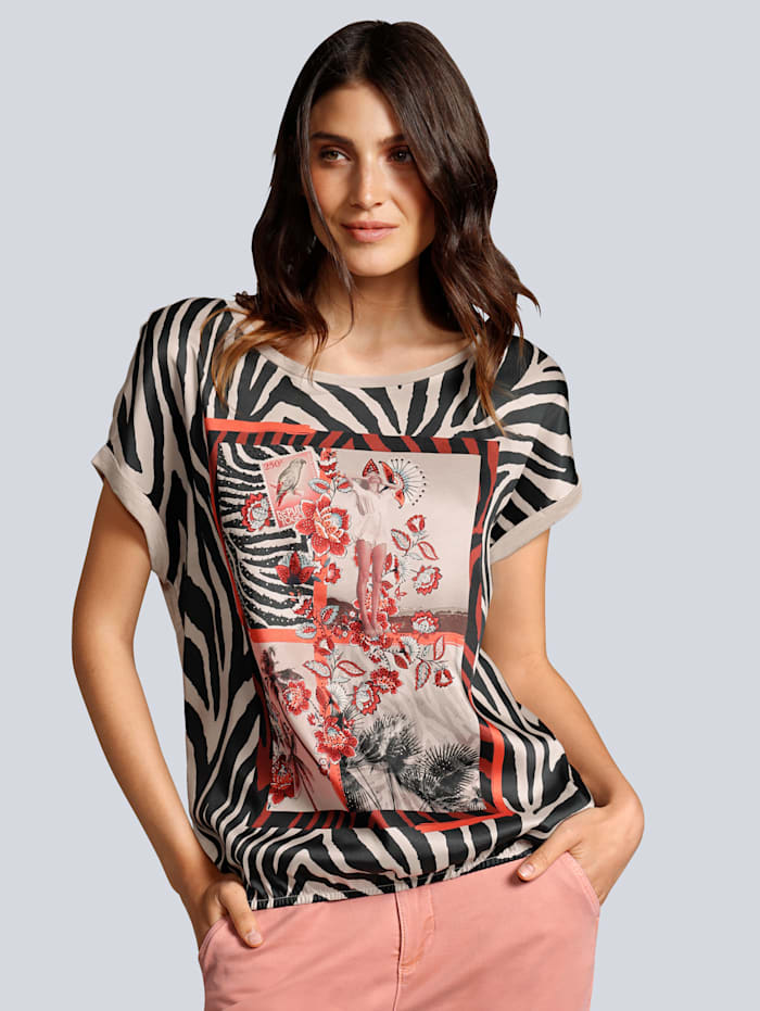 OUI T-Shirt im Vorderteil aus fließender Webware, Apricot