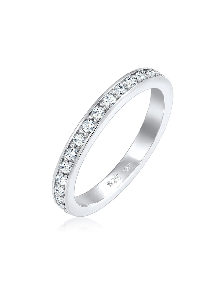 Elli Ring Glamourös Kristalle 925 Sterling Silber, Weiß
