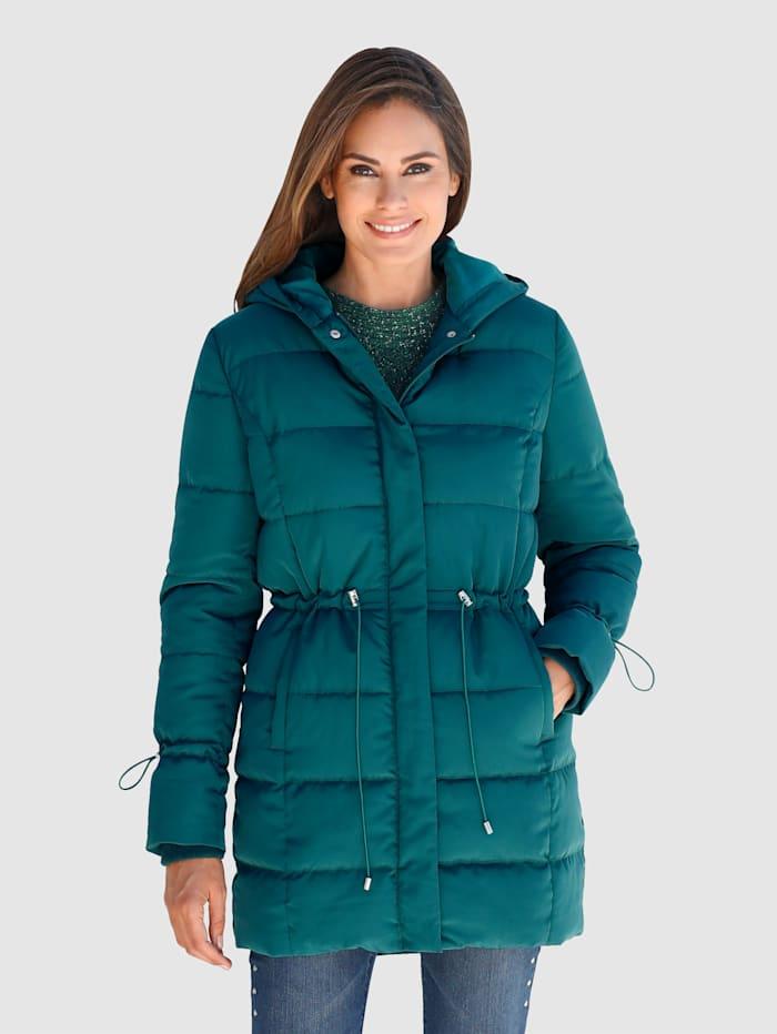 Laura Kent Gewatteerde jas in modieus lang model, Groen