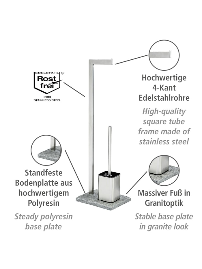Stand WC-Garnitur Granit Edelstahl, Edelstahl rostfrei