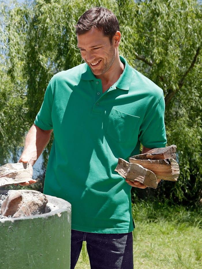 Men Plus Poloshirt aus reiner Baumwolle, Grün