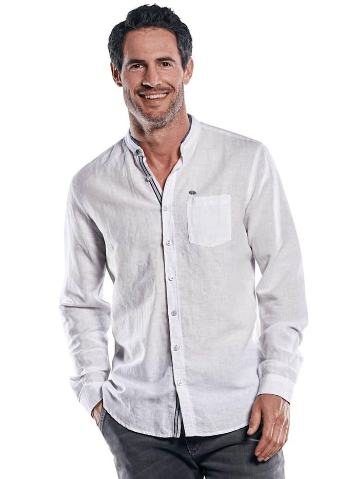 Engbers Modisches Halb-Leinen Stehkragen-Hemd, Reinweiss
