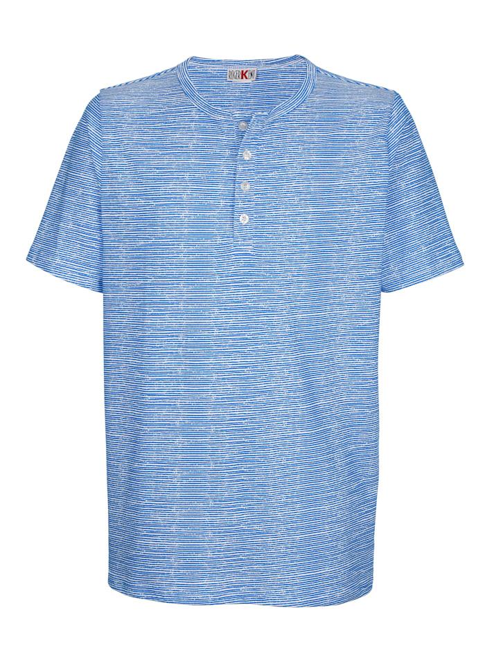Roger Kent T-Shirt mit Streifendruckmuster, Weiß/Blau