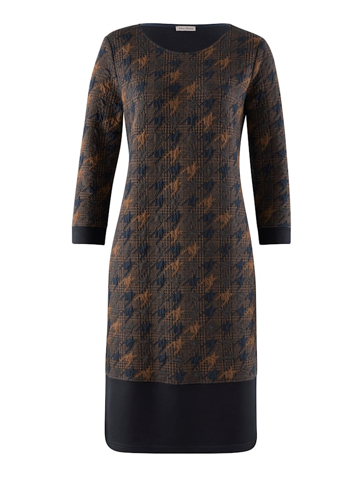 Jerseykleid in schönem Hahnentritt-Dessin