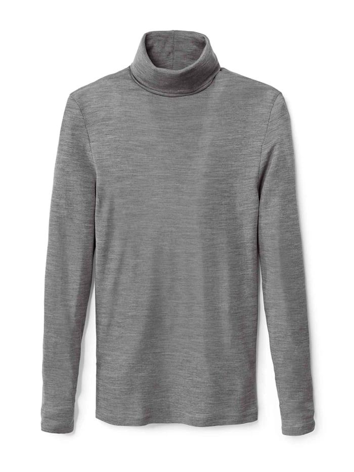 Langarm-Shirt mit Rollkragen aus Wolle-Seide Ökotex zertifiziert