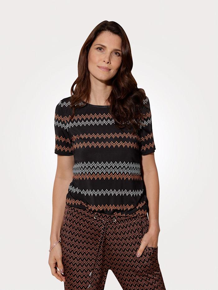 MONA Shirt met modern etnomotief, Zwart/Terracotta