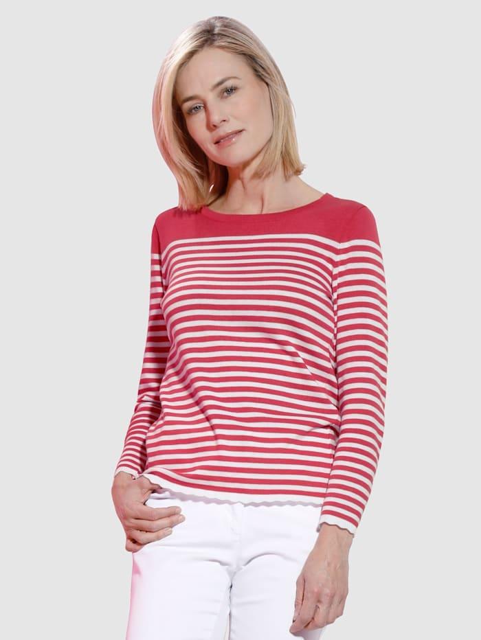 Dress In Pullover Mit Wellenabschlüssen am Saum und Ärmeln, Fuchsia