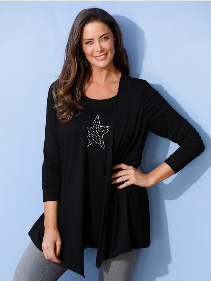 MIAMODA T-shirt 2 en 1 à motif d'étoiles en rivets, Noir