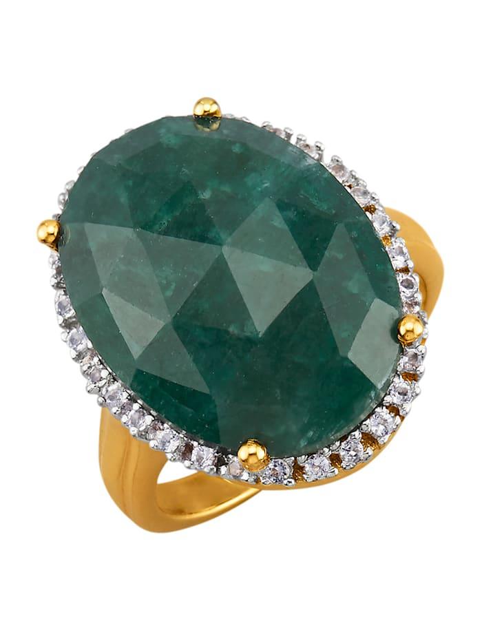Damenring mit Smaragd mit Smaragd und Weißtopasen, Grün