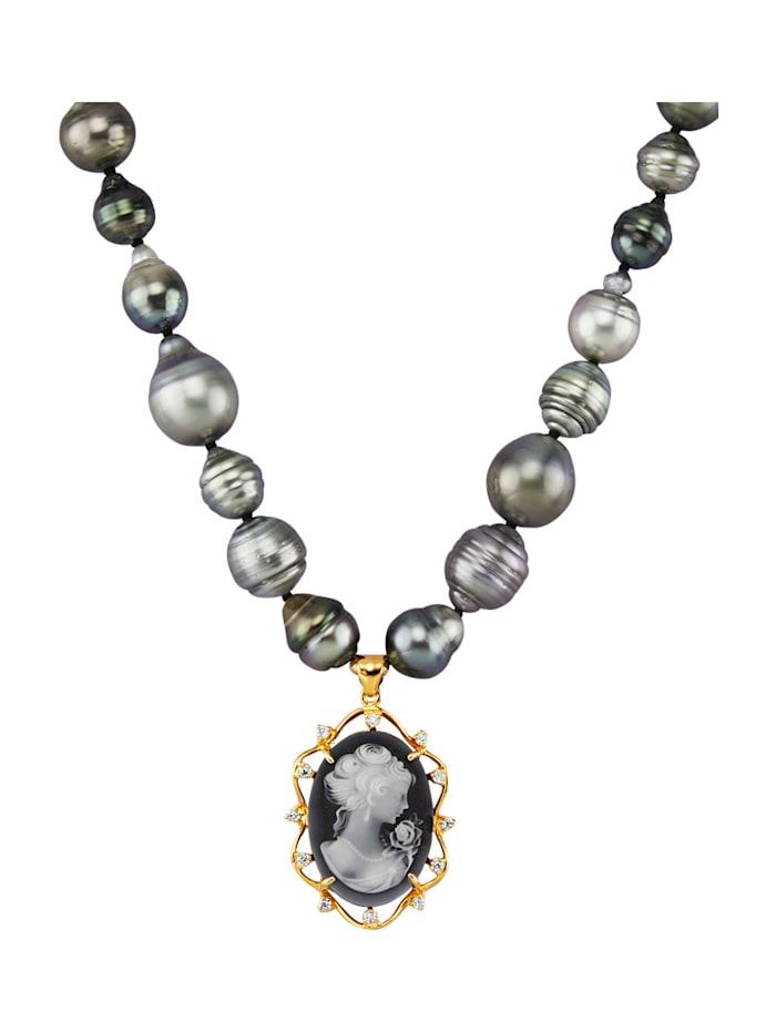 Amara Perles Collier de perles de culture de Tahiti en argent 925, Gris
