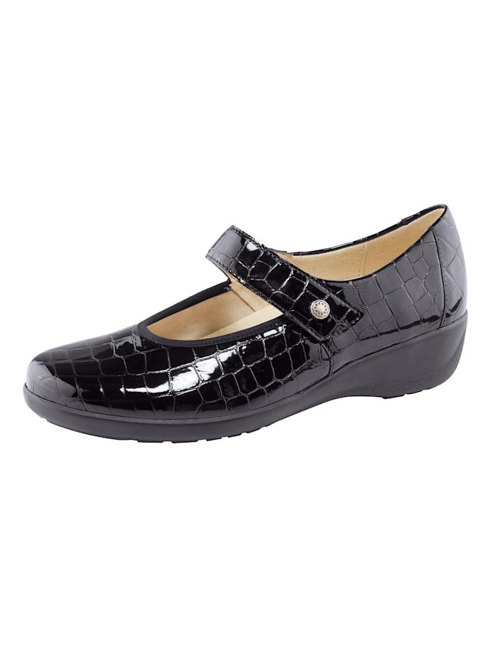 Goldkrone Klittenbandschoen in krokolook, Zwart