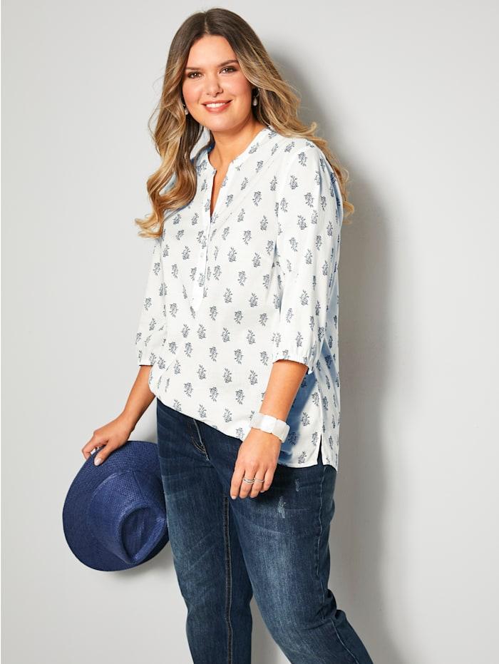 Janet & Joyce Tunika-Bluse aus reiner Baumwolle, Weiß/Marineblau