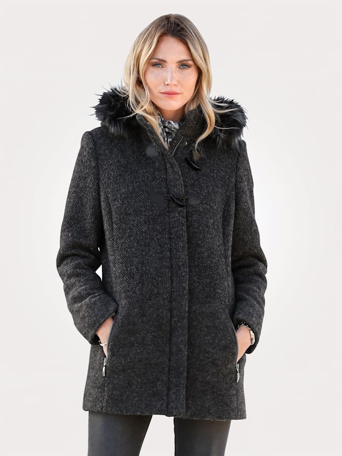 MONA Wolljacke im Dessin-Mix, Anthrazit