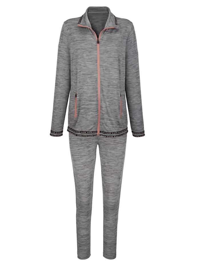 Simone Joggingpak van comfortabel materiaal, Grijs/Lichtroze/Zwart