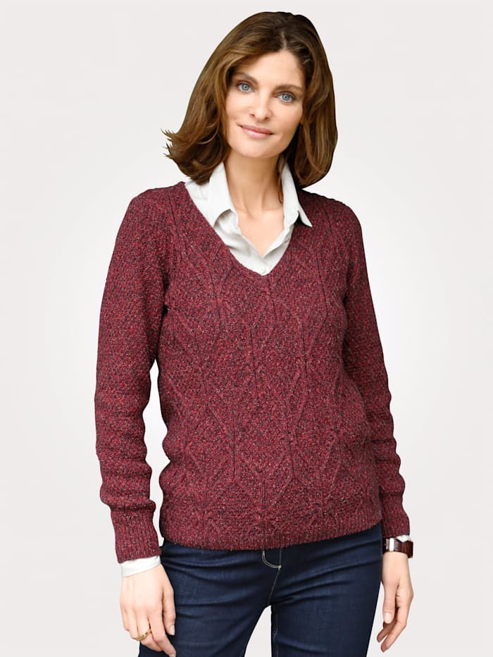 MONA Jumper in a mélange knit, Red
