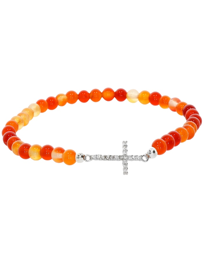 1001 Diamonds Kreuz Karneol Armband 925 Silber 17 cm, orange