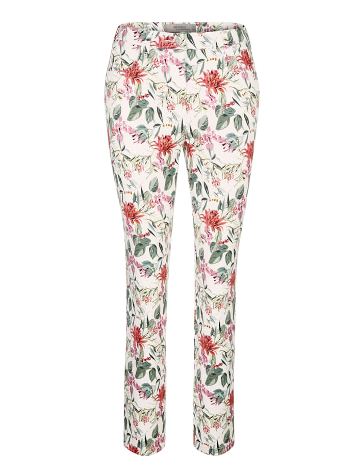 Print trousers made from a cotton-rich fabric