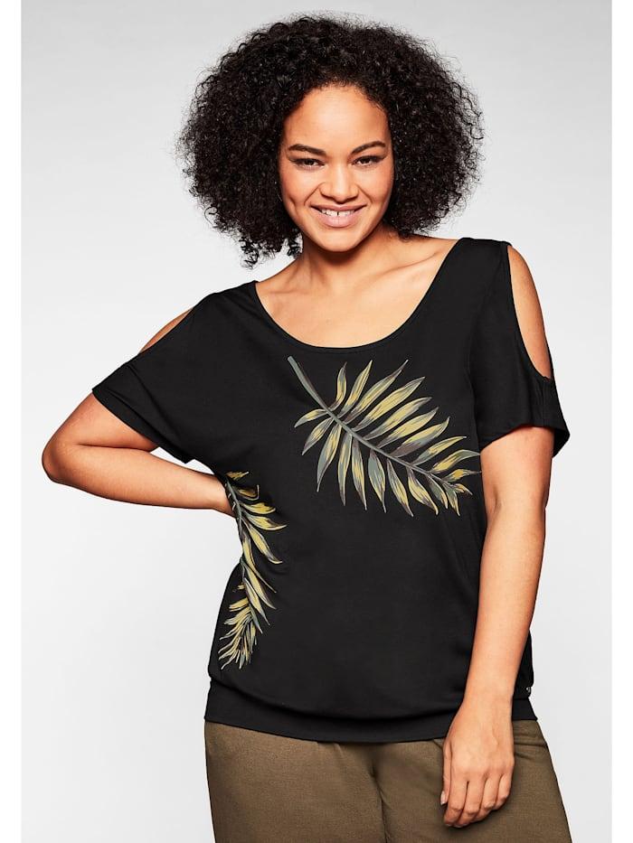 Sheego Strandshirt mit Motivdruck und Cut-out am Ärmel, schwarz