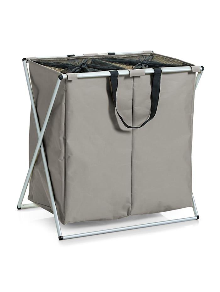 HTI-Living Wäschesammler mit 2 Fächern, Taupe