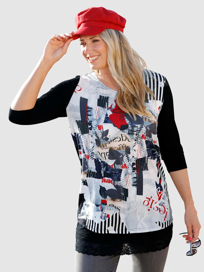 MIAMODA Shirt mit Materialmix, Schwarz/Weiß/Rot