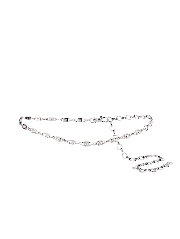 Monette Chain belt with elegant glass stones, Silver-Coloured