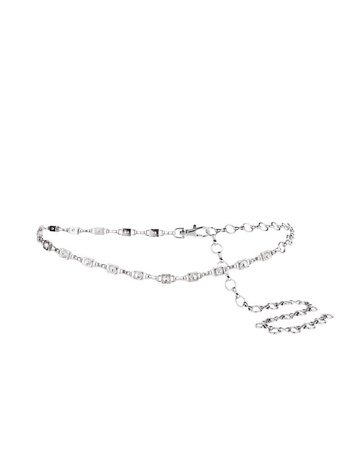Monette Kettengürtel mit edlen Glassteinen, silber