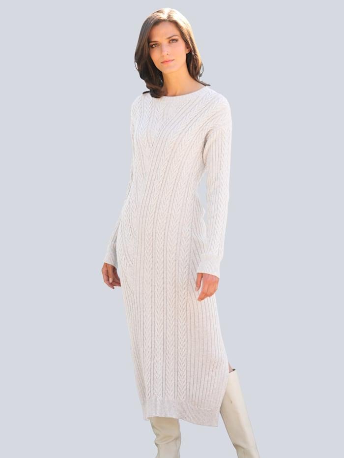 Alba Moda Strickkleid allover im effektvollen Zoftstrickmuster, Creme-Weiß