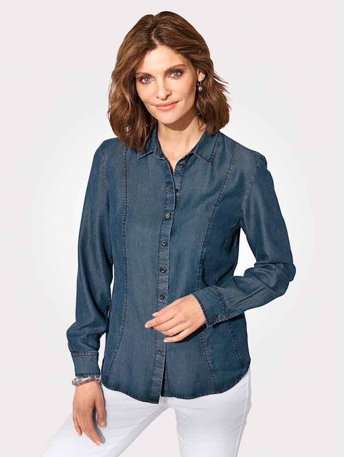 ERFO Bluse aus Lyocell, Blau