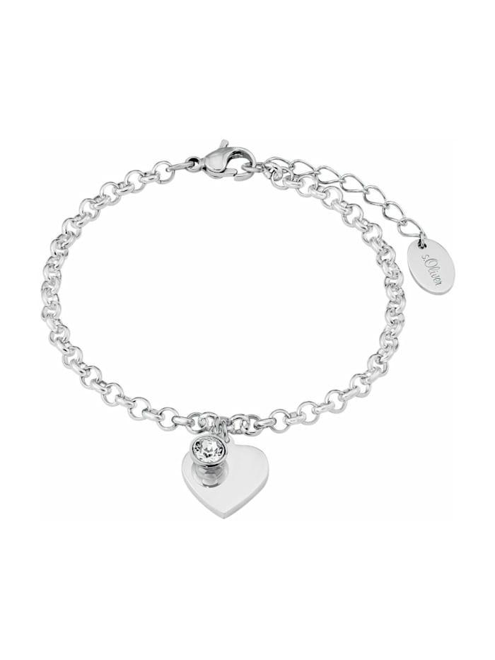 s.Oliver Armband mit Anhänger für Damen, Edelstahl, Kristallglas Herz, Silber