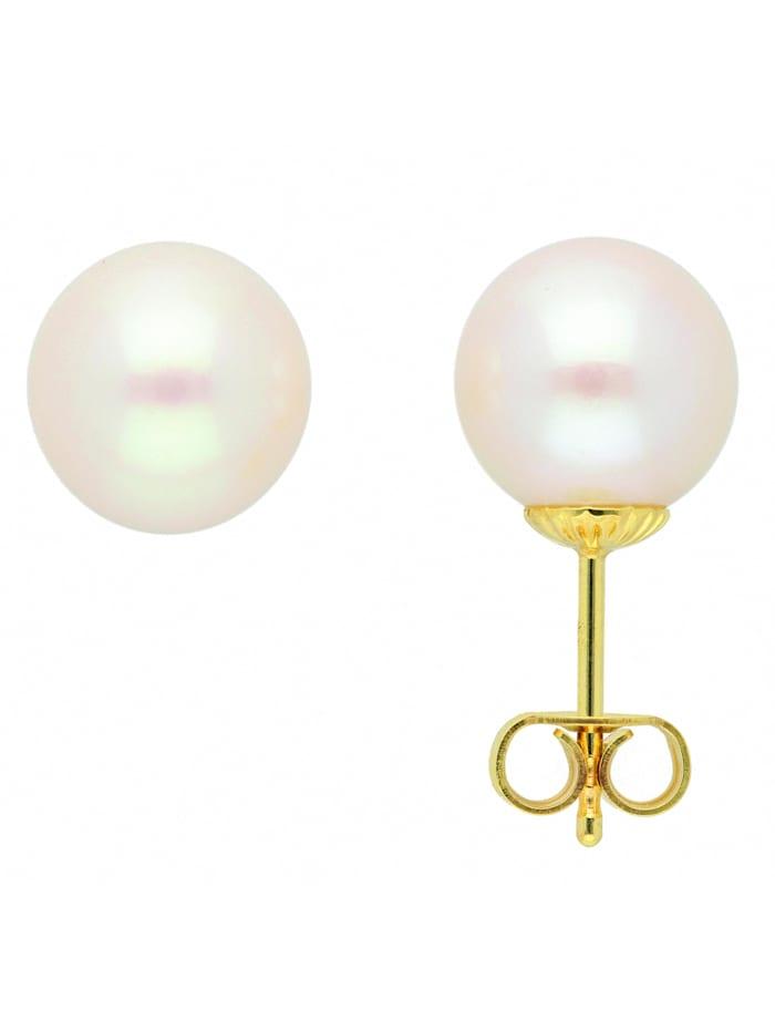 1001 Diamonds Damen Goldschmuck 333 Gold Ohrringe / Ohrstecker mit Süßwasser Zuchtperle, gold