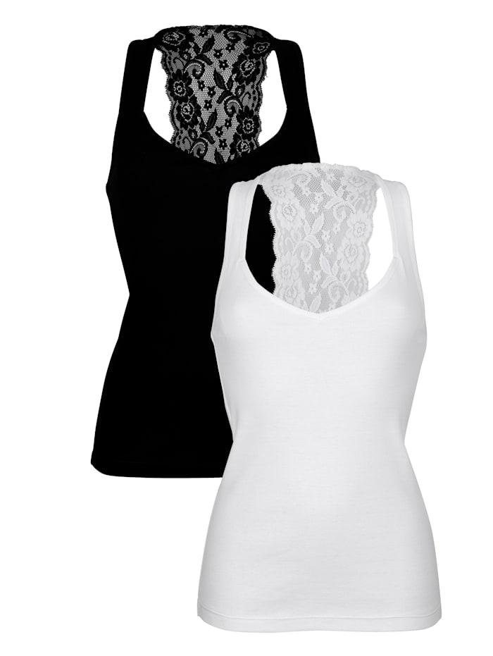 Simone Hemdjes met decoratief kant achter 2 stuks, 1x zwart, 1x wit