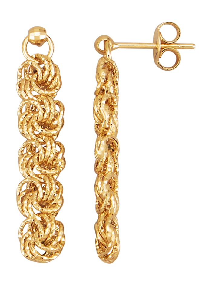 Diemer Gold Rosen-Ohrringe in Gelbgold 585, Gelbgoldfarben