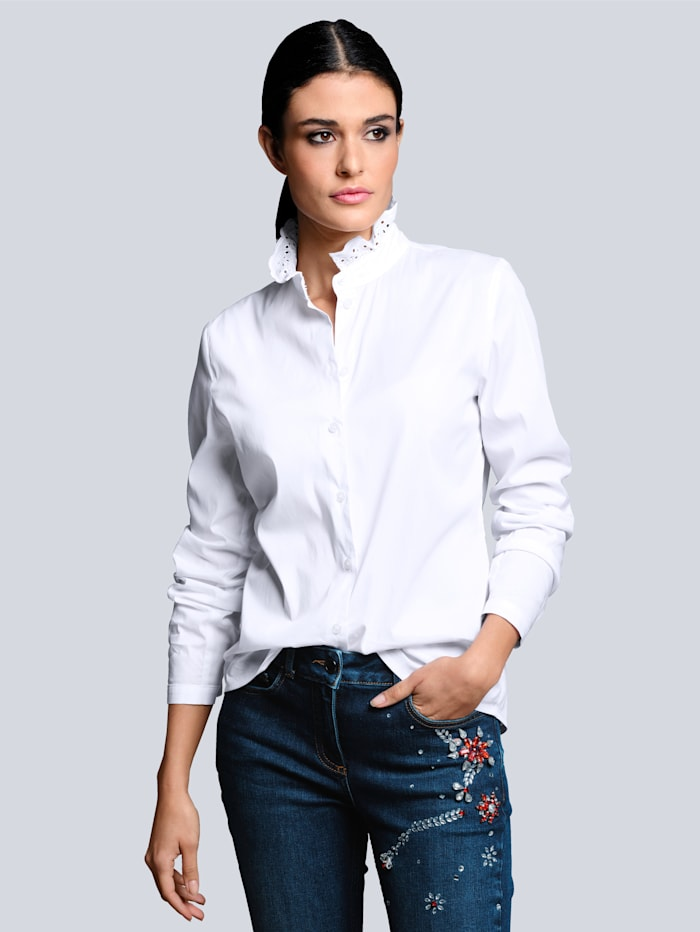 Alba Moda Blouse van comfortabel en elastisch materiaal, Wit