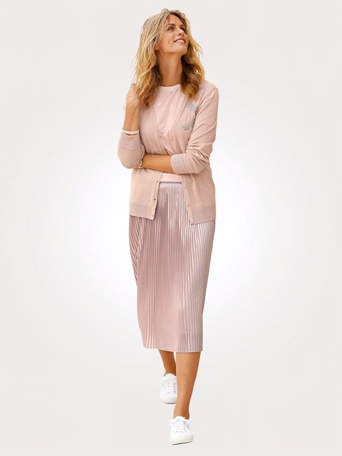 delmod Pleated skirt, Rosé/Silver-Coloured
