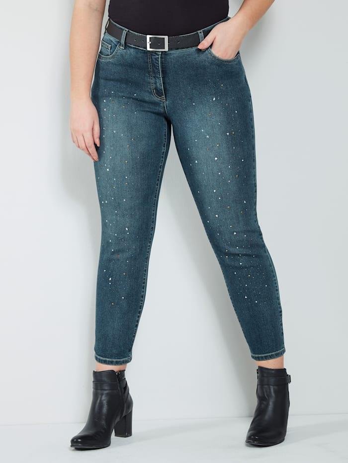Sara Lindholm Jeans met strassteentjes, Blue stone