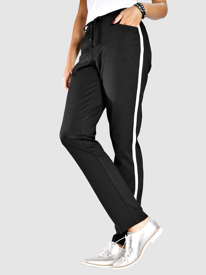 MIAMODA Hose mit seitlichem Streifen, Schwarz/Weiß