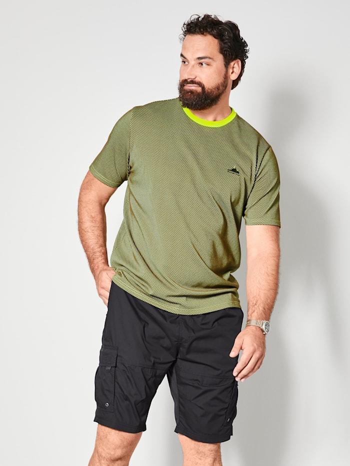 Men Plus T-shirt van sneldrogend materiaal, Olijf/Neongroen
