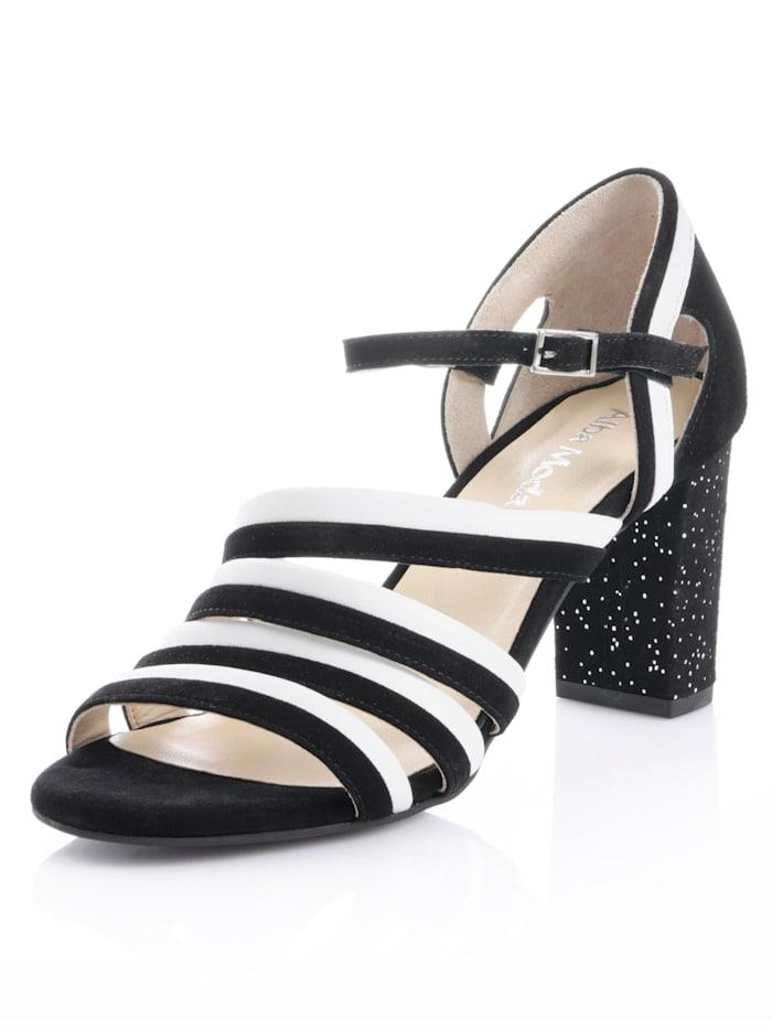Alba Moda Sandaletter med mönstrad klack, Svart/Vit